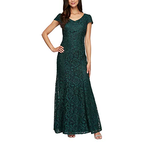 Alex Evenings Women's Petite Long Lace Dress, Hunter, 10P