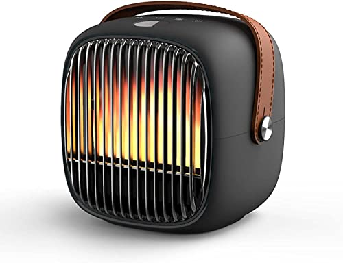 WYH Calefactor de Aire Pequeño calefacción portátil, Tanto frío como cálido. DIRIGIÓ Mostrar el Control táctil del Escritorio eléctrico Calefactores (Color : Schwarz)
