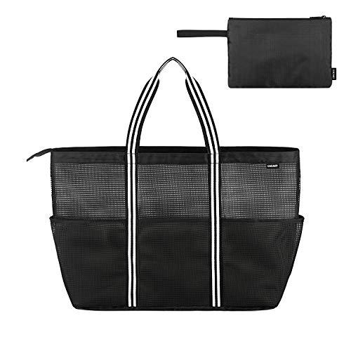 BONTHEE 50L Strandtasche Einkaufstasche Extra Große Netztasche Faltbar Handtasche mit Reißverschluss für Damen – Schwarz