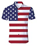 uideazone Men's American Flag Button Down Shirt Patriotic USA Red White and Blue Hawaiian Shirt