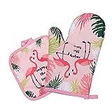 Hemoton 2 Stücke Hitzewiderstandsfähige Topflappen & Matte Verdicken Verbrühschutzhandschuh & Pad Flamingo Gedruckt Backschutzhandschuh Matte für Home Küche Kochen Backen
