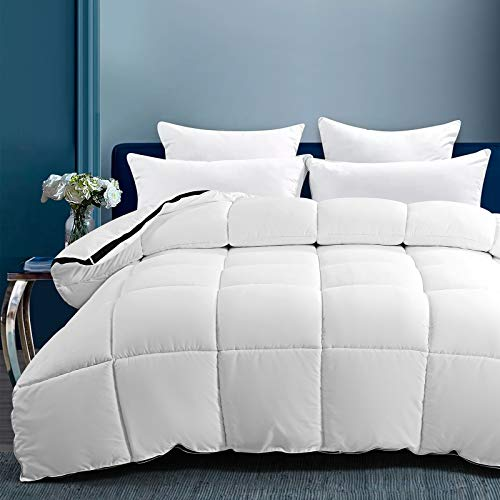 LANELIFE Queen Size Comforter All Season Soft Quilted Down Alternative Duvet Insert with Corner Tabs, Reversible Winter Warm Fluffy,Breathable Quilt, White,88×88 inches