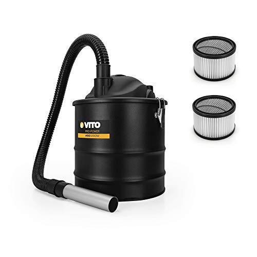 VITO Aschesauger bis 50°, 1200W 18L Kaminsauger, 2X Hepa Filter, 1M Saugschlauch, 0,2M Alu-Saugrohr, Geeignet für Grill, Ofen, Kamin und Kohlenbecken.