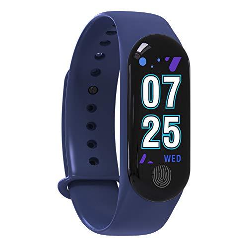 fanmaosdf M3plus Waterproof Heart Rate Monitor Pedometer Fitness Tracker Smart Bracelet Blue