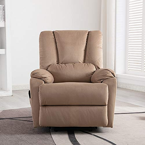 Unknown1 Power Lift Recliner Chair Comfortable Fabric Reclining Brown Solid Modern Contemporary Velvet Metal Finish