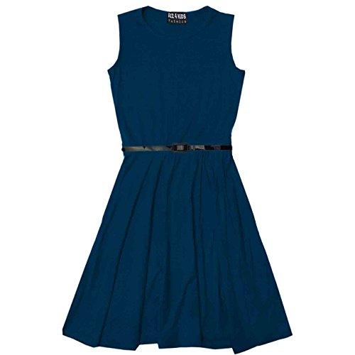 A2Z 4 Kids® Mädchen Skater Kleid Kinder Sommer Party Mode Kleider - Skater Sleeveless Teal 7-8