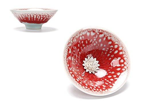 Mkuha Bol à thé en céramique-incrusté d'ornements en Argent Pur-adopte la Technologie Traditionnelle Chinoise 65ML, Rouge, Fleur