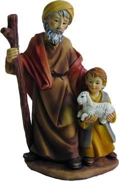 Unbekannt Krippenfiguren Alter Mann mit Junge, geeignet für 15cm Figuren