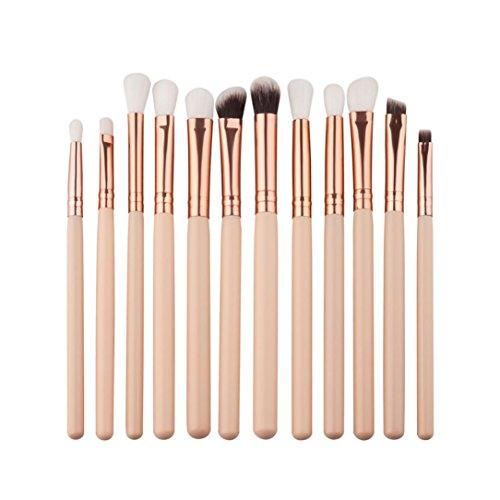 Dégagement!!!, LMMVP 12pcs Brosse Cosmétiques Maquillage Pinceaux Sets/Outils - Brosse de Maquillage (12Pcs, Beige)