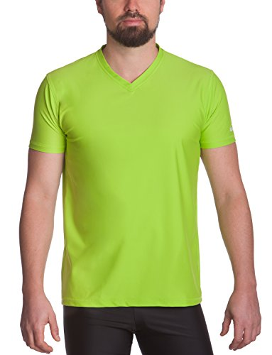 T-shirt homme iQ UV 300 coupe regular col V protection T-shirt anti-UV - neon-green S (48)