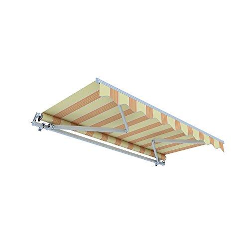 jarolift Gelenkarmmarkise Basic Plus Balkonmarkise Sonnenschutz für Terrasse, 450 x 350 cm, Gelb-Orange Multistreifen