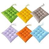 AIITLLYNA Cuscini per Sedie Set da 6,Cuscino per Sedia da Giardino 40x40 per Interni ed Esterni - Decorazione di mobili da Giardino di Diversi Colori Cuscini per sedie (Combinazione di Colori B)