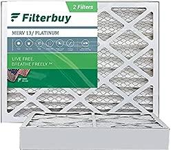 FilterBuy 20x25x4 Air Filter MERV 13, Pleated HVAC AC Furnace Filters (2-Pack, Platinum)