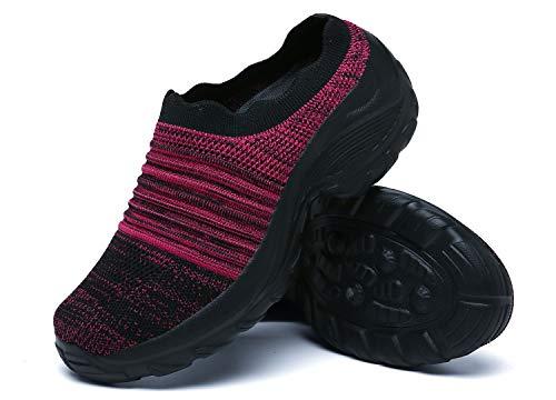 Zuecos de Cuña Mujer Transpirable Sandalias Plataforma Cómodo Ligero Casual Zapatillas para Caminar al Aire Libre,Negro/Morado,EU 36