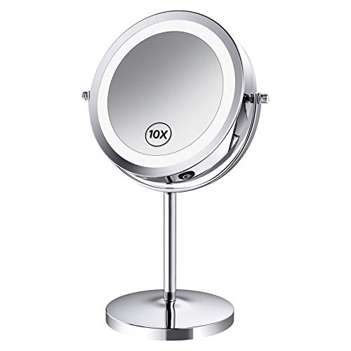 Benbilry LED Lighted Makeup Mirror - 7 Inch 1x/10x Magnifying Vanity...