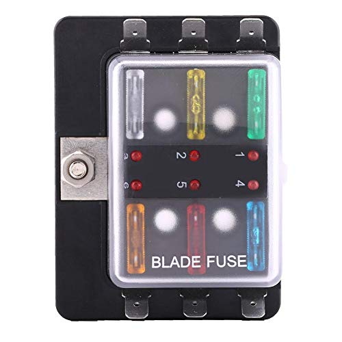 Soporte de bloque de caja de fusibles de cuchilla de circuito de 6 vías, soporte de caja de fusibles de cuchilla Keenso con kit de luz de advertencia LED para triciclo marino para barco de coche 5A 10
