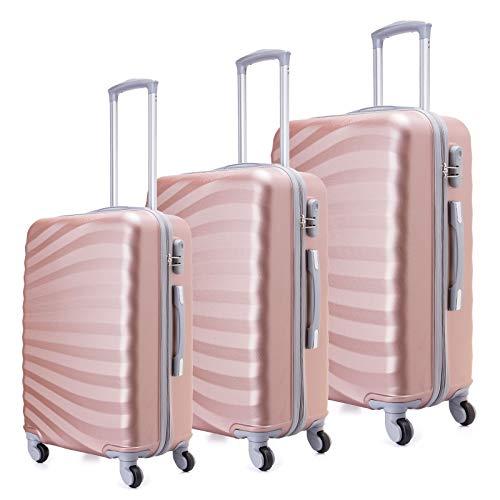 Toctoto Set di valigie Leggera Valigetta con guscio rigido Shell 3 Piece (20' 24' 28') (Oro rosa)