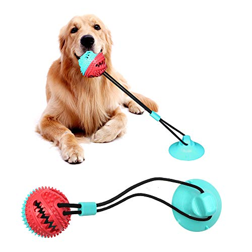 Squeaks Dog bite Single Suction Cup Rope Ball Toy with Bells, tug of war Toy Ball Aggression chew, Tooth Cleaning Interactive , Multi-Functional Interactive pet Toy with Food Distribution Function