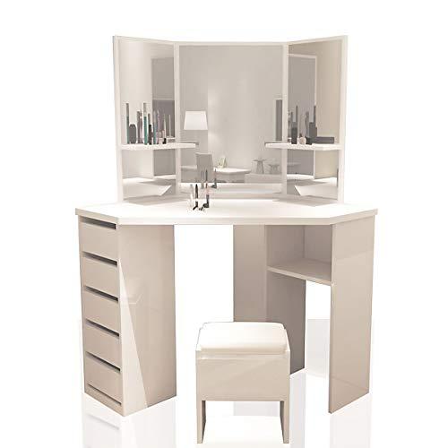 XJLLOVE Eck-Schminktisch Arielle, Weiß – Make-up, Schreibtisch, Kommode, Spiegel, 83*38*24