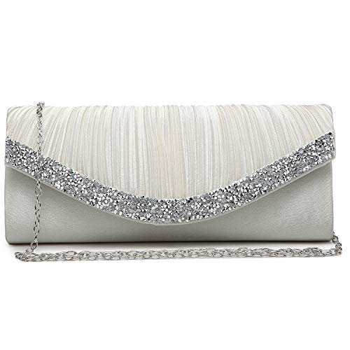 Dasein Women Satin Evening Bags Rhinestone Clutch Purses for Wedding Party Formal Dressy Handbag with Shoulder Chain Ivory White