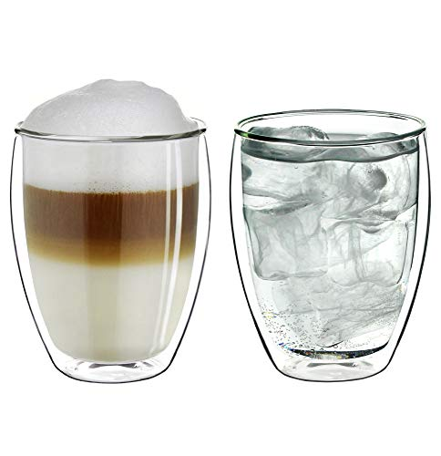 Creano doppelwandiges XXL Thermoglas 400ml, Extra großes hitzebeständiges Doppelwandglas aus Borosilikatglas, Kaffeegläser, Teegläser, Latte Macchiato Gläser, 2er Set