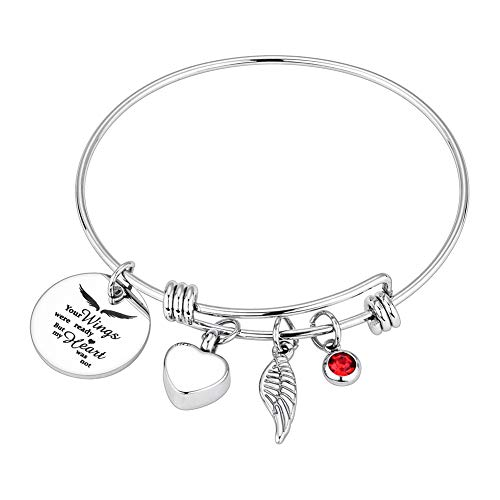 Dletay Cremation Bracelet for Ashes Stainless Steel Urn Bracelet with Heart Charm Ashes Holder Memorial Urn Bangle for Ashes-Your Wings were Ready, But My Heart was Not