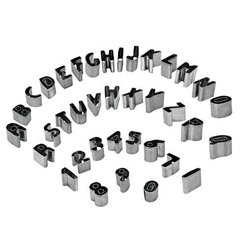 37 Stück Alphabet Nummer Mathematische Symbole Ausstechformen für Keks Fondant mit Aufbewahrungsbox, Edelstahl