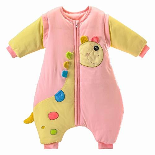 baby Schlafsack langarm winter kinder Schlafsack mit Füßen, Abnehmbare Ärmel,ganzjahres Baumwolle Junge Mädchen unisex Overall Schlafanzug 3.5tog, M Größe:90(1-2Jahre)