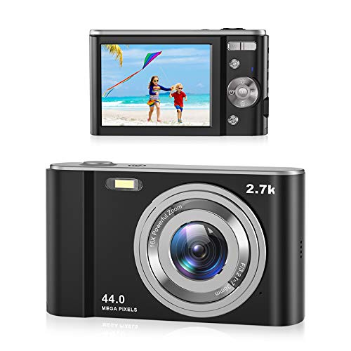 "Compactas Cámaras Digitales,Rokurokuroku 2.7K Camara de Fotos 44 Megapíxeles 2.88"" Pantalla LCD HD Cámara Digitales con Zoom 16X para Principiantes, Estudiantes, Adultos"