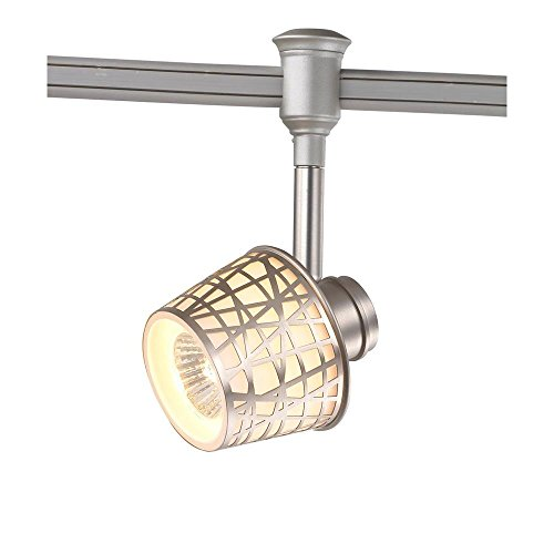 Commercial Electric 1-Light Brushed Nickel Flexible Track Lighting Head with Convertible Basket Shade