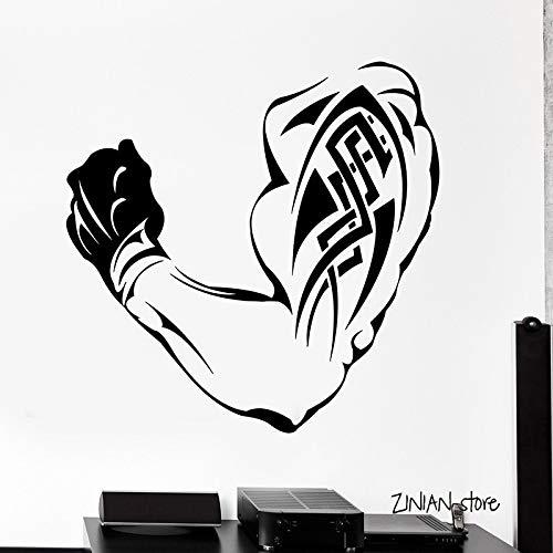 Blrpbc Pegatinas de Pared Adhesivos Pared Bodybuilding Fitness para Gimnasio Tatuaje Muscular Vinilo Arte Mural Papel Tapiz extraíble decoración de Dormitorio 76x76cm