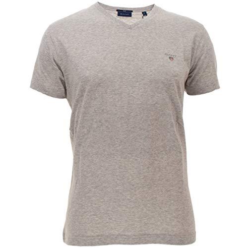 GANT Herren The ORIGINAL Slim V-Neck T-Shirt, Grau (Light Grey Melange 94), (Herstellergröße: XX-Large)