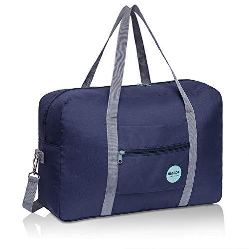 WANDF Leichter Faltbare Reise-Gepäck Handgepäck Duffel Taschen Übernachtung Taschen/Sporttasche für Reisen Sport Gym Urlaub Weekender handgepaeck (B - Dunkelblau mit Schultergurtt)