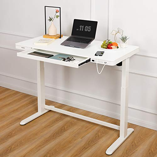 Flexispot Electric Standing Desk with Drawer Height Adjustable 48 x 24 Inches White Desktop & Frame Quick Install Comhar Home Office Table w/USB Charge Ports, Storage Desk Organizer