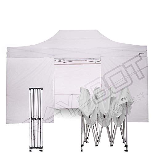 RAY BOT. Gazebo richiudibile 3 m x 4.5 m telaio acciaio con piede da 30mm e tessuti impermeabili in PVC a 350g metro. Gazebo richiudibile (Teli 1 Porta, 3 Ciechi, Bianco)