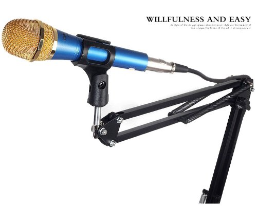 Wild-us Professional Adjustable Metal Suspension Scissor Arm Microphone Stand Holder for Mounting on Desk or Table Top