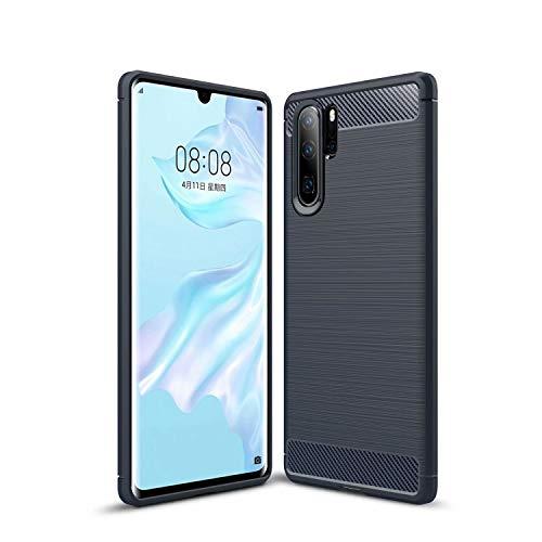 AILZH Handyhülle für Huawei P30 pro Hülle TPU Weiches Silikon Handyhülle Schutzhülle Anti-Schock Stoßfänger Stoßfest Kratzschutz Shockproof Bumper Cover Carbon-Faser Hülle(Blau)