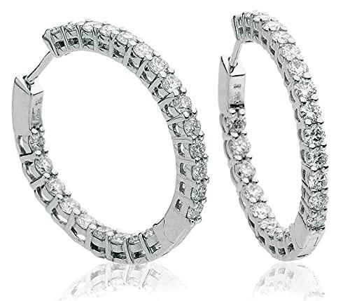Pendientes de aro redondos de diamantes de 2 quilates de oro blanco de 18 k