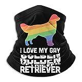 Dydan Tne Golden Retriever Gay Dog LGBT Pride Unisex Cuello Calentador Headwear Face Bufanda Máscara para Andar en Bicicleta