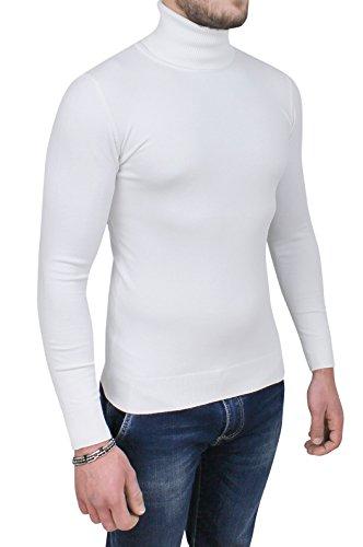 AK collezioni Maglione Dolcevita Uomo Casual Maglia Pullover Slim Fit Aderente Collo Alto (S, Bianco)