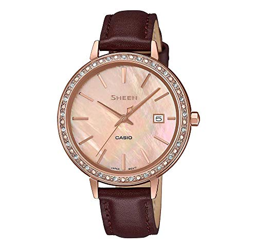 CASIO Damen Analog Quarz Uhr mit Leder Armband SHE-4052PGL-4AUEF