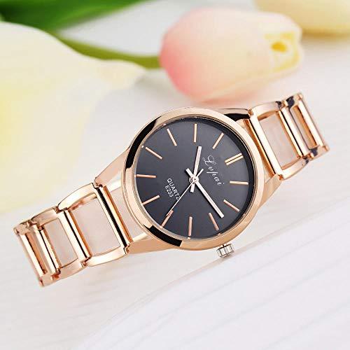 Powzz ornament Reloj inteligente de mujer a la moda de acero con cinturón de diamantes elegante y reloj de pulsera blanco de oro rosa