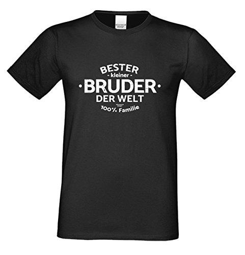 Geschenk-Set : Bester Kleiner Bruder der Welt : Herren T-Shirt mit Urkunde : Farbe: schwarz Gr: XL