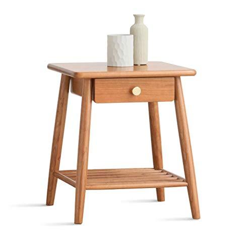 HXGL nachtkastje, vierkant, voor huishoudelijk gebruik, eenvoudige salontafel voor woonkamer, sofa-tafel, van massief kersenhout, Scandinavisch