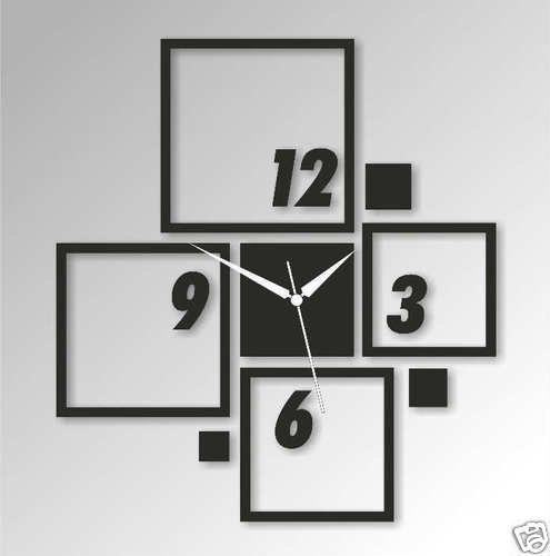 Horloge Murale moderne Design Décoratif Cadeau Décoration mural Carre Noir