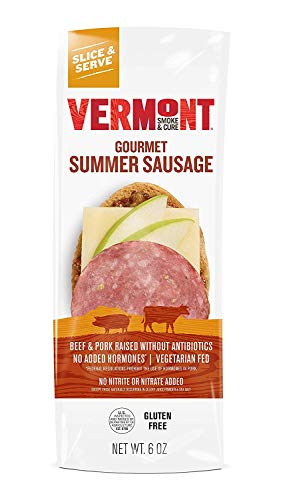 Vermont Smoke and Cure Uncured Summer Sausage - Antibiotic Free and Gluten Free - Great on Charcuterie Boards With Cheese - 6oz