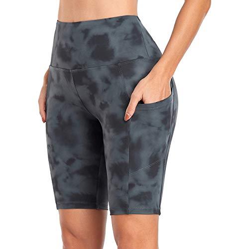Vectry Damen Hose Sommer Sport Leggings mit Tasche High Waist Skinny Pants Stretch Yoga Hose Laufhose Reithose Fahrradhose Atmungsaktive Workout Gym Training Fitness Jogging Kurze Hose BGrau L