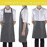 Viedouce 2 Pack Schürze,Wasserdicht Kochschürze mit Taschen,Verstellbarem Küchenschürze,Grillschürze,latzschürze,Küchenschürze (Grau) - 6