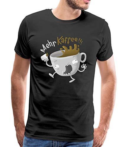 Mehr Kaffee Koffein Kaffeeholic Männer Premium T-Shirt, L, Schwarz