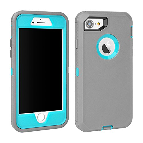 MAXCURY iPhone 7 Defender Case, iPhone 8 Case, Heavy Duty Shockproof Series Case for iPhone 7/8 (4.7') with Built-in Screen Protector (Grey/Lt Blue)